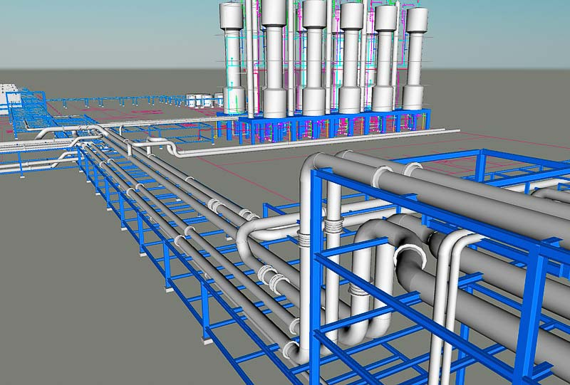 rendered image of the pipe system suppported by the steel racks